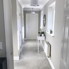 House goals grey carpet living room, grey carpet bedroom, grey walls and ca Light Gray Hallway, Hallway Colours, Home, Grey Hallway, Grey Carpet Living Room, House Interior, Living Room Grey, Light Gray Carpet, Living Room Decor Gray