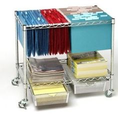 Heavy Duty File Cart: Get rid of the office clutter with our durable Chrome File Cart & Organizer. Our file cart holder accomodates both letter and legal files with wheels to boot. Both shelf and drawers can be adjusted to any height. Shelf can also be use as a table top or printer stand. Add this to your Wish List online at www.SevilleClassics.com.