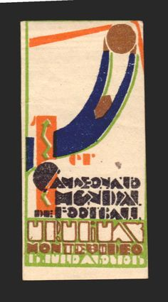URUGUAY 1930 ORIGINAL PERIOD FIFA WORLD CUP SOCCER POSTER STAMP W/ CERTIFICATE