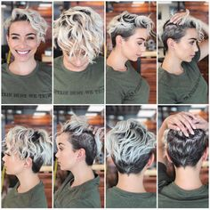 Cute Short Pixie Haircuts and Hairstyles in 2019 Short Curly Pixie Haircuts Blonde Pixie Cuts, Short Hair Cuts, Short Curls, Short Hair Hacks, Cute Pixie Cuts, Curly Hair Cuts, Curly Pixie Haircuts, Pixie Haircut For Round Faces, Messy Pixie Haircut