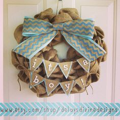 Since baby is taking his sweet time, I think I'll make one of these.  Baby Boy Burlap Wreath by DelaysDivineDesigns on Etsy, $60.00