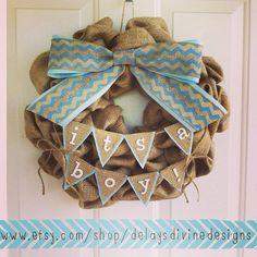 Baby Boy Burlap Wreath by DelaysDivineDesigns on Etsy, $60.00