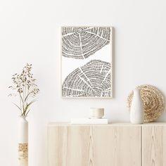 Modern Cabin Decor, Modern Holiday Decor, Grey Art, White Art, Tree Rings, Home Wall Decor, Room Decor, Hand Illustration, Printable Wall Art