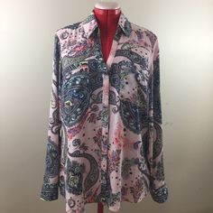 Paisley Pink Button Up Long Sleeve V-Neck Silky Polyester Blouse by Express XL #Express #BUTTONUPBLOUSE #CareerOccasionEvening