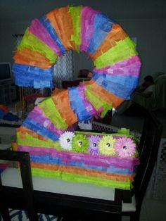Number two piñata DIY using a box,tissue paper and flower hair clips
