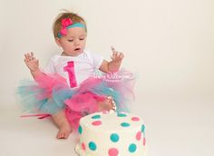 Haley Willingham Photography Martinsburg WV Hagerstown MD Winchester VA, Charles Town WV, Frederick MD, Berkeley County, Jefferson County, Northern Virginia, Western Maryland, Cake Smash First Birthday Photographer, Photography Studio, Baby Girl, Teal, Pink, Tutu, Polka Dots,