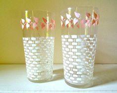 Vintage Glassware Set of 2 - White & Pink Drink Tumblers - Retro Kitchen Decor $10