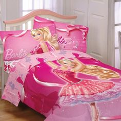 Get A Beautiful Barbie Throw Blanket For Your Little Doll Twin Girl Bedrooms, Cool Kids Bedrooms, Girls Bedroom, Princess Theme Bedroom, Princess Bedrooms, Girls Kitchen Set, Barbie Bedroom, Girls Bedding Sets, Twin Comforter
