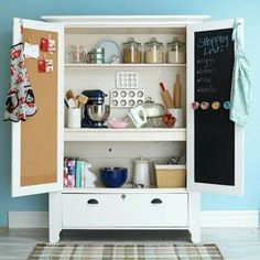 UpCycle That Old Armoire: Let it spice up your kitchen! An armoire turned baking cabinet is perfect for storing kitchen supplies! Get more smart storage ideas here: /. Armoire Pantry, Armoire Cabinet, Kitchen Armoire, Antique Armoire, Pantry Closet, Larder Cupboard, Antique Cupboard, Antique Doors, Cabinet Space