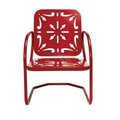 Vintage-Style Metal Seating - Reproduction of a 1945 spring chair delivers a splash of bold color for a nice price - $149. (Although their definition of a 'nice price' differs from mine.)