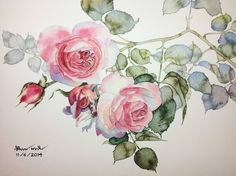 Roses/ by Kitipong Ti Watercolor Cards, Watercolor And Ink, Watercolor Illustration, Watercolour Painting, Watercolor Flowers, Painting & Drawing, Painting Flowers, Watercolors, Art Floral