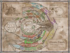 map of Minas Tirith from the Lord of the Rings by JRR Tolkien Minas Tirith, Hobbit Tolkien, O Hobbit, Lotr, Fantasy City Map, Fantasy World, Middle Earth Map, Rpg Map, Lord Of The Rings