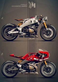 Cafe Racer from Holographic Hammer. Which one would you choose, A or B? Hummm A ! Buell Cafe Racer, Ducati Cafe Racer, Bmw Scrambler, Buell Motorcycles, Concept Motorcycles, Cool Motorcycles, Cafe Bike, Cafe Racer Bikes, Cafe Racers