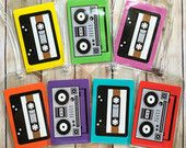 Boombox Cassette Tape Luggage Tag, Hip Hop Music Lover, Old School Ghetto Blaster, 80s 90s Pop Art