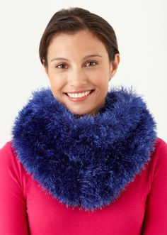 Love fur and love animals? Knit this fuzzy cowl made in Fun Fur.