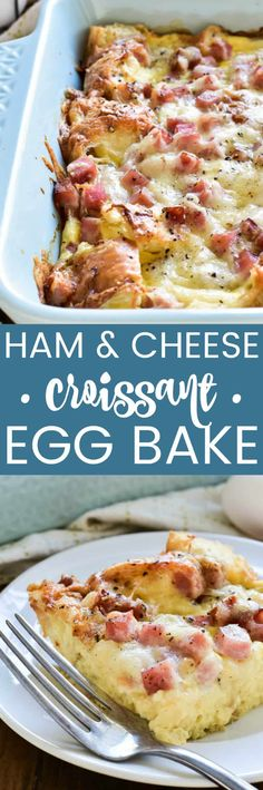 This Ham & Cheese Croissant Egg Bake is the ultimate breakfast dish. It combines the classic flavors of ham & Swiss in a delicious breakfast strata that's ideal for entertaining. Made with just 8 simple What's For Breakfast, Savory Breakfast, Breakfast Dishes, Breakfast Casserole, Breakfast Recipes, Breakfast Strata, Ham Casserole, Brunch Dishes, Ham And Cheese Croissant