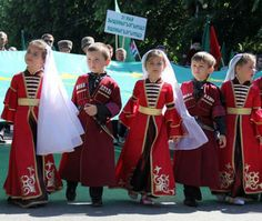 çerkesler ile ilgili görsel sonucu çerkezler Google'da ara, Circassian children in front of the Adyghe flag #traditional #costume