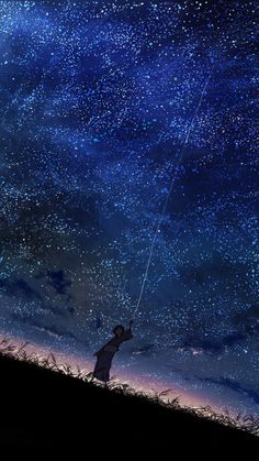 grafika anime, sky, and stars