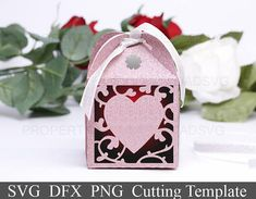 DIY SVG cutting file template Gift Box Happy Valentine Day