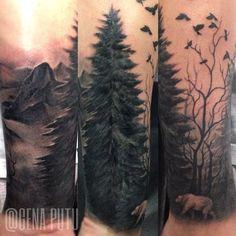 1000 ideas about tree tattoos on arm on tree Leg Tattoos, Body Art Tattoos, Tattoos For Guys, Sleeve Tattoos, Tatoos, Forest Forearm Tattoo, Tree Tattoo Arm, Tree Silhouette Tattoo, Forest Silhouette