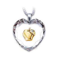 Teacher Appreciation Heart-Shaped Crystal Necklace with 18K Gold... ($79) ❤ liked on Polyvore featuring jewelry, necklaces, gold plated necklace, crystal pendant, heart pendant, golden heart necklace and heart necklace