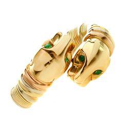 CARTIER Puma Emerald Tri-Gold Ring   1stdibs.com