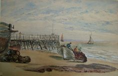 Watercolour on paper; beach scene with jetty and boats at Yarmouth. two frishermen dragging nets onto boat in centre; two sail ships out on sea; probably mid century Norfolk Museums & Archaeology Service Marcel, Great Yarmouth, Beach Scenes, Gouache, Archaeology, Brittany, Sailing Ships, My Arts, Auction