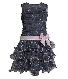 Bonnie Jean 716 Spangled ShirredBodice TieredSkirt Dress #Dillards