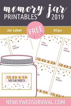 2019 Memory Jar - Free printable jar label and memory slips! Fund idea for New Year's Eve via Graduation Party Centerpieces, Graduation Party Decor, Grad Parties, Graduation Ideas, 30th Party, Mason Jar Clip Art, New Years Eve Traditions, Happy Jar, Friendship Day Quotes