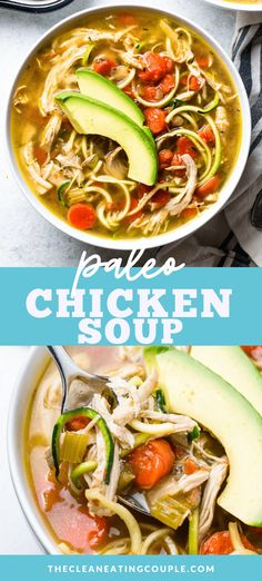 This Paleo Chicken Soup recipe is a delicious, Whole30, keto friendly meal. Easily made in the instant pot or slow cooker - it's a cozy, flavor packed dinner everyone will love! You can make it with bone broth or stock for even more gut healing properties! We love to cook it low and slow in the crockpot for a healthy dinner! #paleo #whole30 #keto #lowcarb
