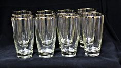 Vintage Mid Century 1950's Libbey Glass Set Of 8 Platinum Rimmed 16 Oz. Clear Tumblers/Highball  Retro Classic Bareware, Dining Elegance by ShabbyCandleAntiques on Etsy