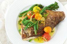 Crispy-skinned barramundi with garlic and herb oil main image Fish Recipes, Seafood Recipes, Keto Recipes, Dinner Recipes, Healthy Recipes, Healthy Dinners, Healthy Fats, Eating Healthy, Dinner Ideas
