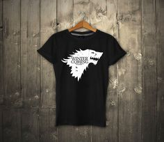 Black / White Wolf - Winter Is Coming T-Shirt