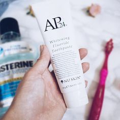 AP 24 Anti-Plaque Fluoride Toothpaste uses a safe, gentle form of fluoride to remove plaque and protect against tooth decay. Whitening Fluoride Toothpaste, Teeth Whitening, Galvanic Body Spa, Ap 24, Stained Teeth, White Teeth, Oral Hygiene, Nu Skin, Ageing