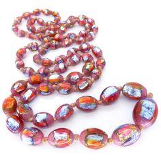 Vintage Art Deco Bohemian Rainbow Pink Cranberry Foil Glass Bead Flapper Necklace | Clarice Jewellery