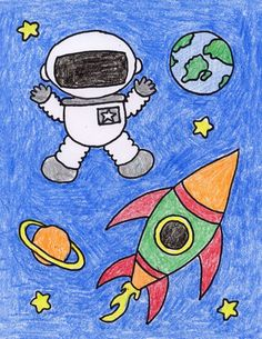astronaut drawing draw creative planets topics drawings simple projects space easy cartoon child artprojectsforkids kid stars cartoondistrict children painting floating