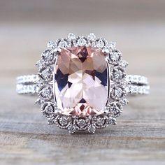 Cushion Cut Morganite set on a vintage inspired white gold diamond halo ring…
