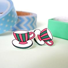 Tiny Teacup Illustrated Earrings