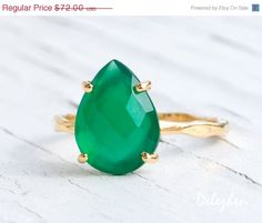 SUMMER SALE Green Onyx Ring Gemstone Ring Stacking by delezhen, $64.80