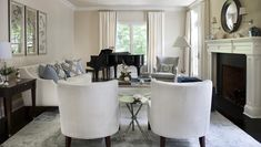 Living room | Morgan Harrison Home | ivory, grey gray blue and sapphire, convex mirror, black baby grand piano