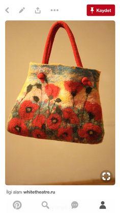 Wet Felting, Needle Felting, Triangle Bag, Felt Pictures, Clothes Basket, Felt Purse, Cloth Bags, Felt Crafts, Bag Making