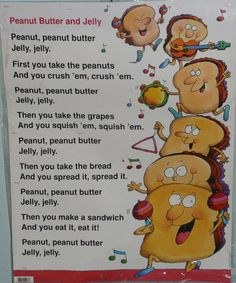 Peanut Butter and Jelly Song Poster Preschool Food, Preschool Music, Music Activities, Preschool Activities, Picnic Activities, Kids Music, Preschool Printables, Rhymes Songs, Fun Songs