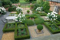 Harpur Garden Images Ltd :: ousden146 Formal courtyard garden parterre of low…