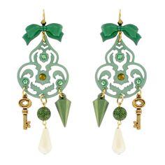 EMERALD PRETTY CHANDELIER CHARM EARRINGS - Jewelry - TARINA TARANTINO