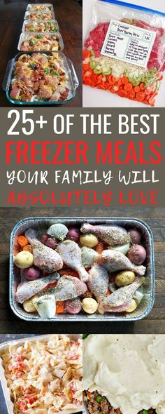 I love this list of easy freezer meals! It's 25+ of the BEST freezer meals to prep ahead of time and make busy weeknights super easy! These meals are SO much better than anything we could get for takeout not to mention the cost savings! I can't wait to take my cooking time down each month, but still feed my family just as well! #EasyFreezerMeals #FreezerMeals #MakeAheadMeals #FreezerCooking #FrozenDinners #HealthyFrozenDinners #HealthyHomemadeMeals