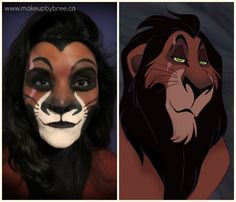 11 makeup only halloween costumes blowing up on pinterest here is a transformation where artist turned herself into scar from disneys the lion king scar from the lion king halloween makeup solutioingenieria Image collections