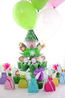 Fairy birthday party favors ~ love the tower idea