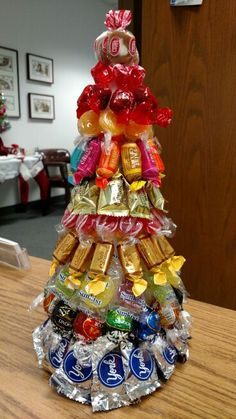 Candy Christmas Tree. Simply pin individually wrapped candid onto a Styrofoam cone. Easy peasy!