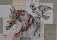 Marine oussedik - Painter - Sculptor Horse and Falcon ink, pencil and charcoal on collage