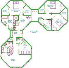 Delete the den, trade the master suite and the guest suite, figure a better connection Round House Plans, Modern House Plans, Small House Plans, House Floor Plans, The Plan, How To Plan, House Layout Plans, House Layouts, Building Plans